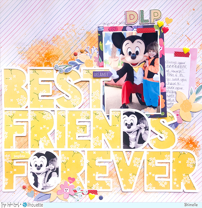 Best Friends Forever scrapbook page by Shimelle with Paige Evans cut file