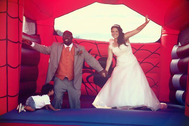 edwards wedding - london, uk - bouncy castle
