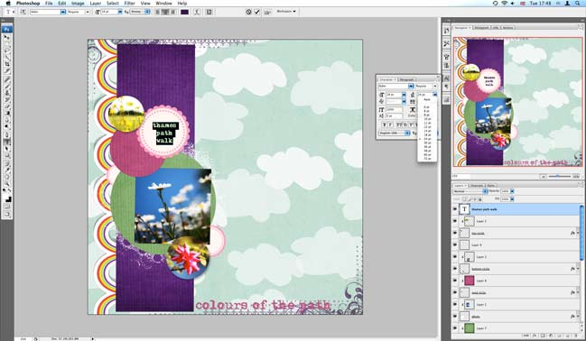 making a digital scrapbook page